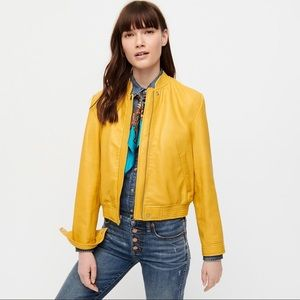 J. Crew Collection yellow leather aviator jacket